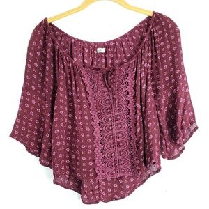 Hollister Burgundy Boho Peasant Crochet Crop Top